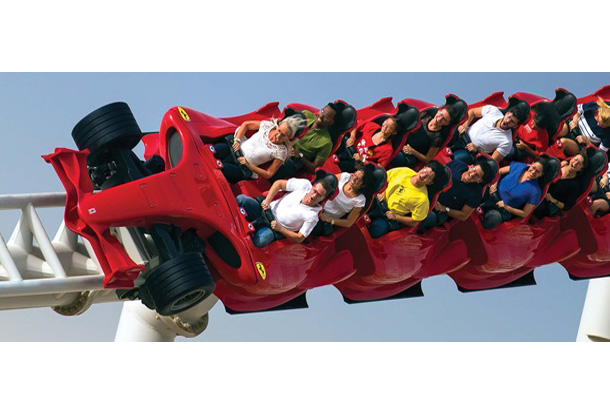 rows of people on roller coaster