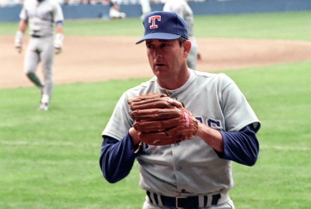Image of Nolan Ryan on the field in his uniform