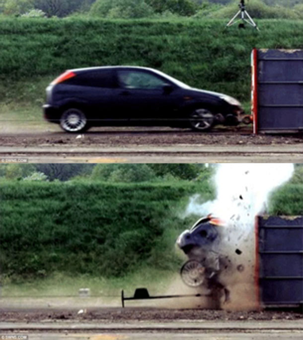 Two panels of before and after car's impact