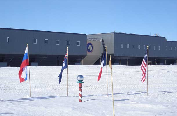Research Station Antartica with flags in front
