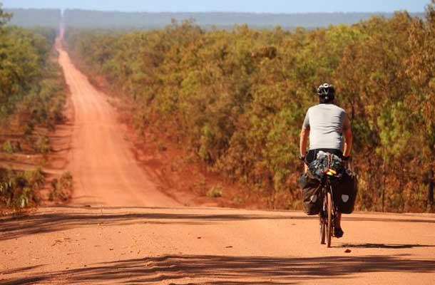 Unpaved Access Road to Cape York, Cyclist on far right