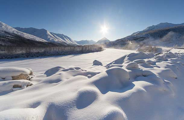 Snow drifts in the Oymyakon Mountains