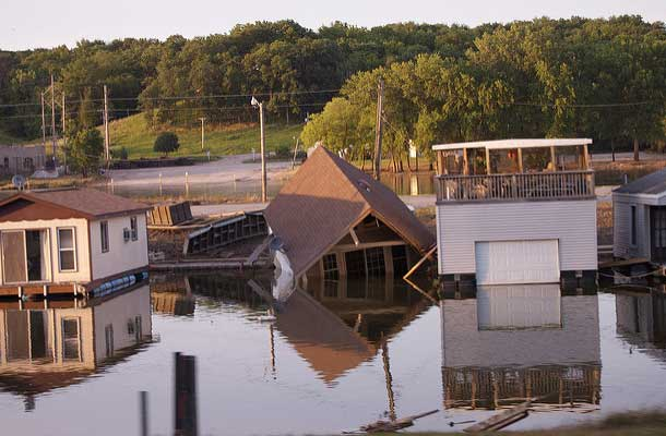 houses with floodwaters to roofline