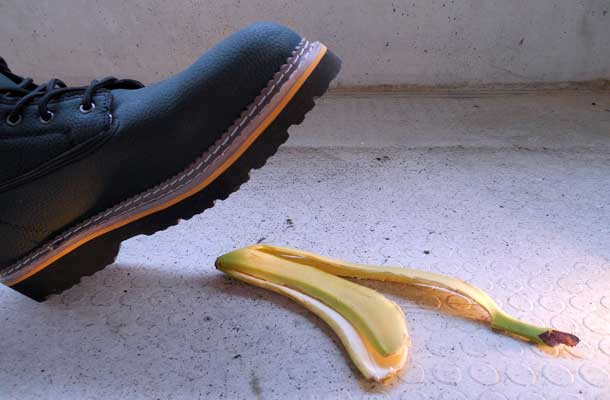 boot about to step on banana peel