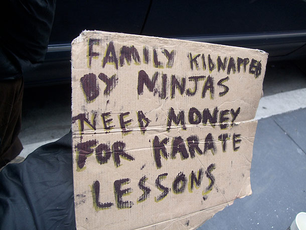 Image result for funny homeless man sign