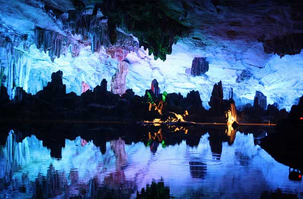 Reed Flute Cave lit up at night