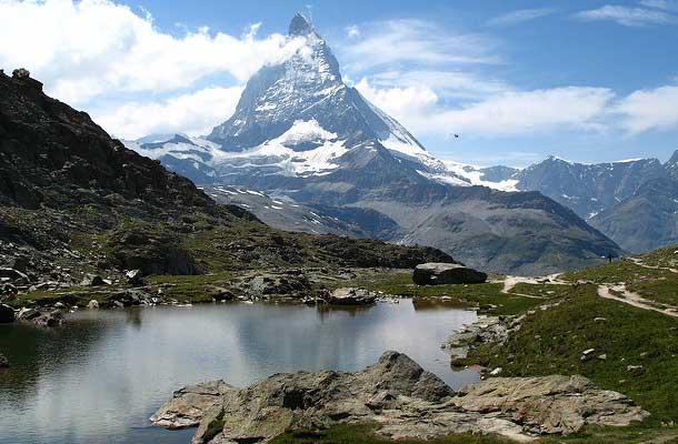 Riffelsee lake with matterhorn in background