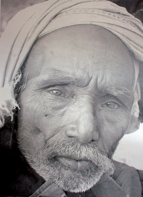 Old man realistic pencil drawing