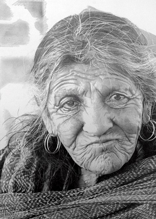 Old woman realistic pencil drawing
