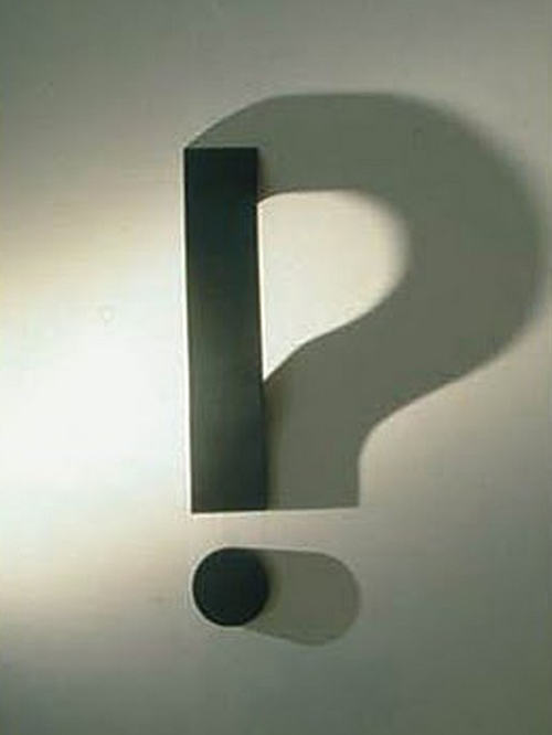 Exclamation point with a question mark shadow