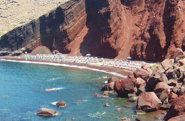Ariel view of the red beach