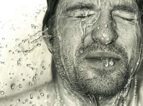 Water on face realistic pencil drawing