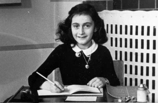 Anne Frank Sitting at her writing desk