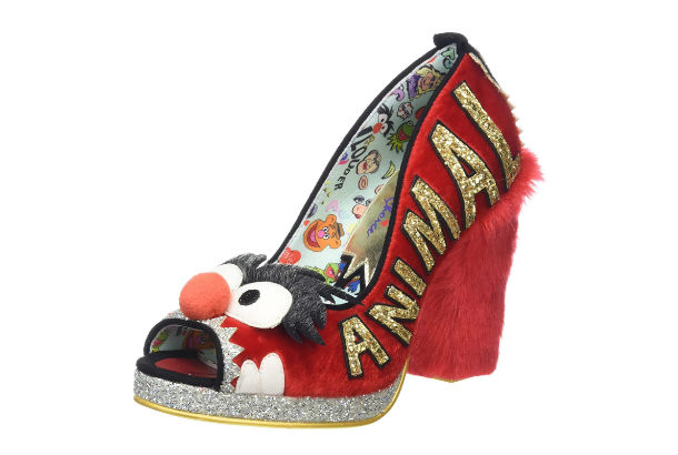 Open toed red pump with fur heel and animal theme