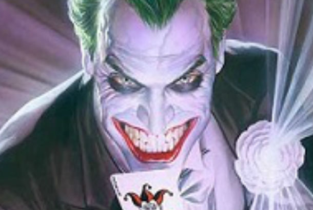 Close up of drawing of the joker holding a playing card