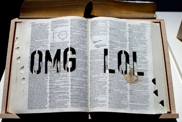 Image of dictionary with OMG and LOL carved in