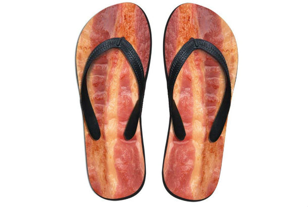 flip flop with bacon pattern on sole