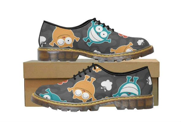 mens loafers with small cartoon images