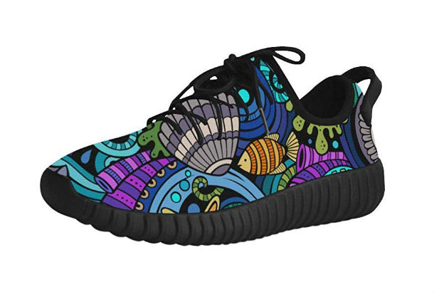 black sneaker with fish pattern