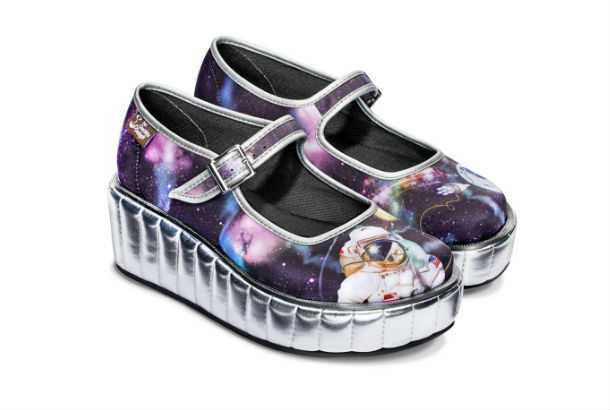 metallic base shoes with black star and astronaut pattern