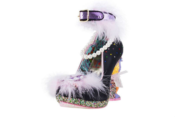 black high heels with feathers and pearls