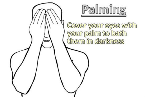 Image of man with face covered with description of palming to the right