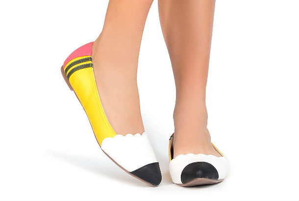 pencil shaped and colored shoes