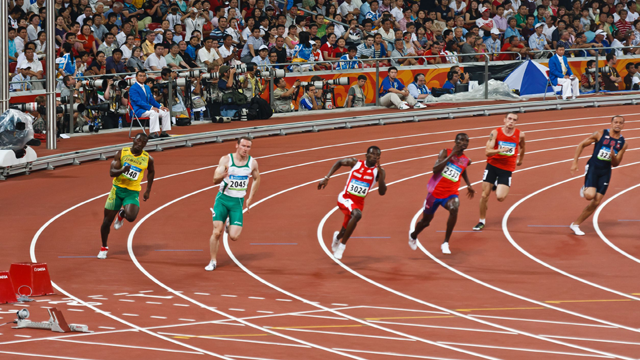 Olympic sprinters reach speeds of 30 mph