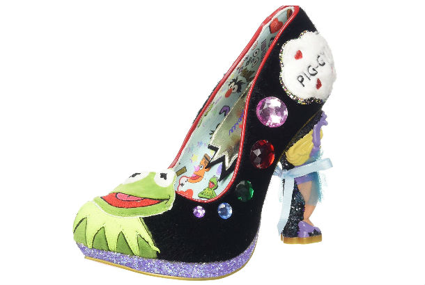 black pump with kermit the frog toe and ms piggy heel