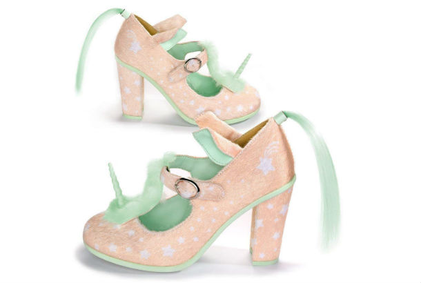 pink horned unicorn shoe with green mane