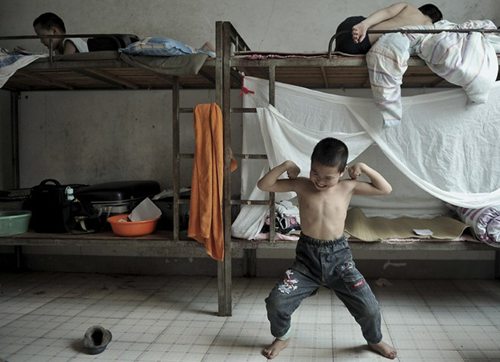 Young Chinese gymnasts in their room