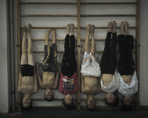 Chinese gymnasts in training
