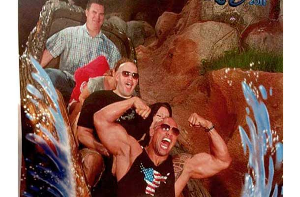The Rock Flexing on a roller coaster