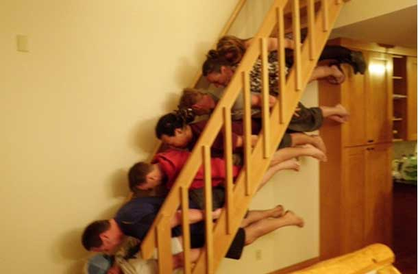 planking on a staircase