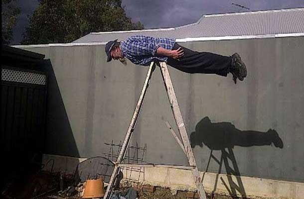planking on a ladder