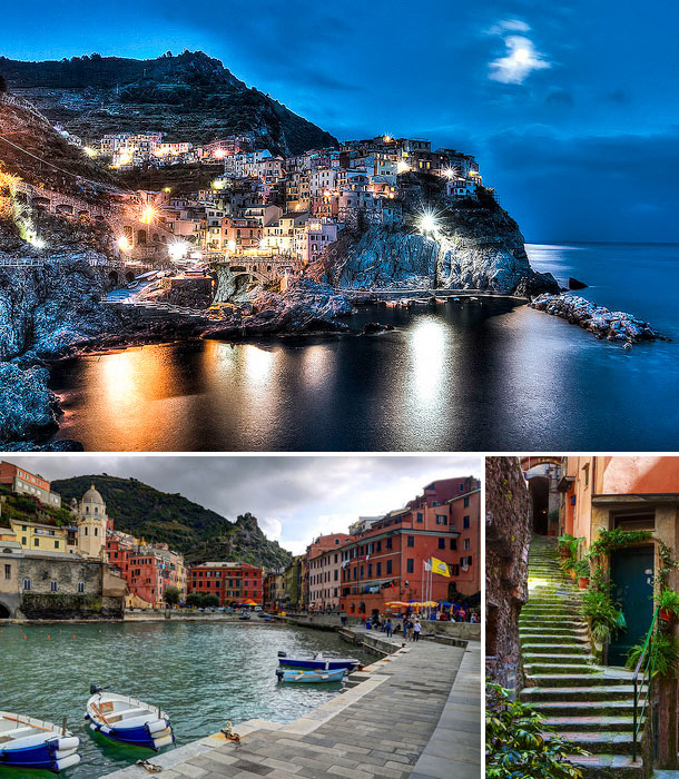 Image collage of Cinque Terra including Cinque Terra at night, a small boat doc, and village stairs lined with green plants and colorful habitations