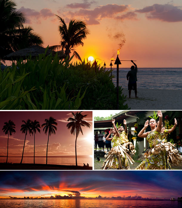 Image collage of Fiji including lighting a torch, tall palm trees facing a sunset, fiji dancers and a panorama of a sea sunset