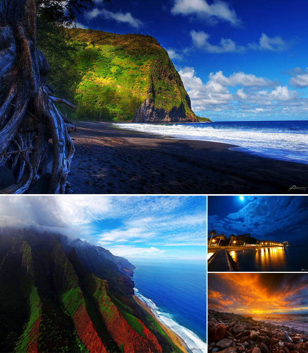 Image collage of Hawaiian landscapes including mountains, beaches, and houses