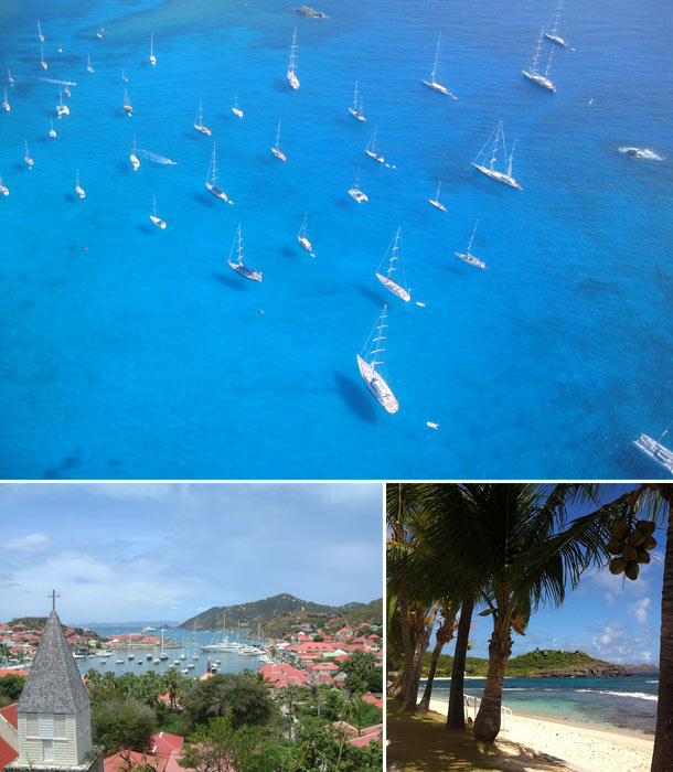 Image collage of St.Bart including the St. Bart town, sail boats on a blue sea, and a palm tree lined beach
