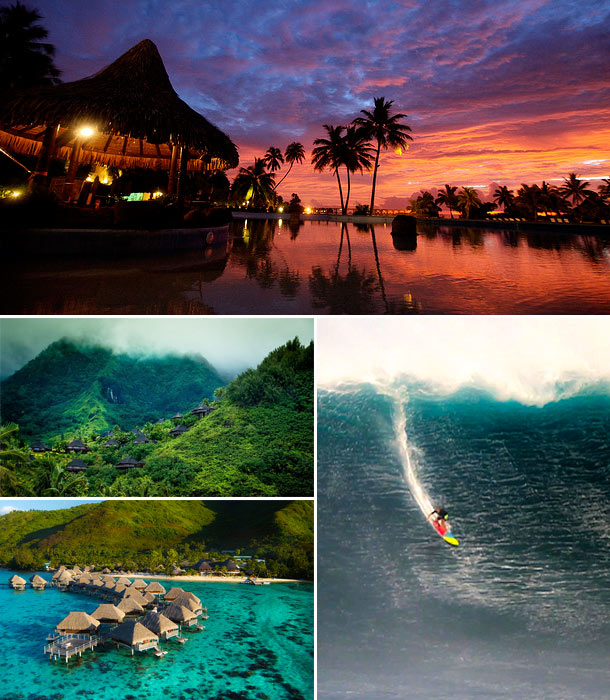 Image collage of Tahiti including surfing, Tahiti huts, green mountains, and clear blue waters