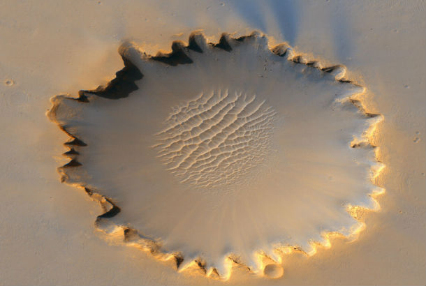 large crater from sky