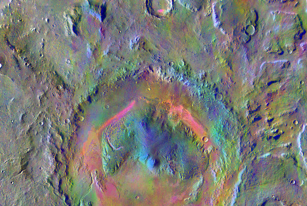 rainbow colored crater