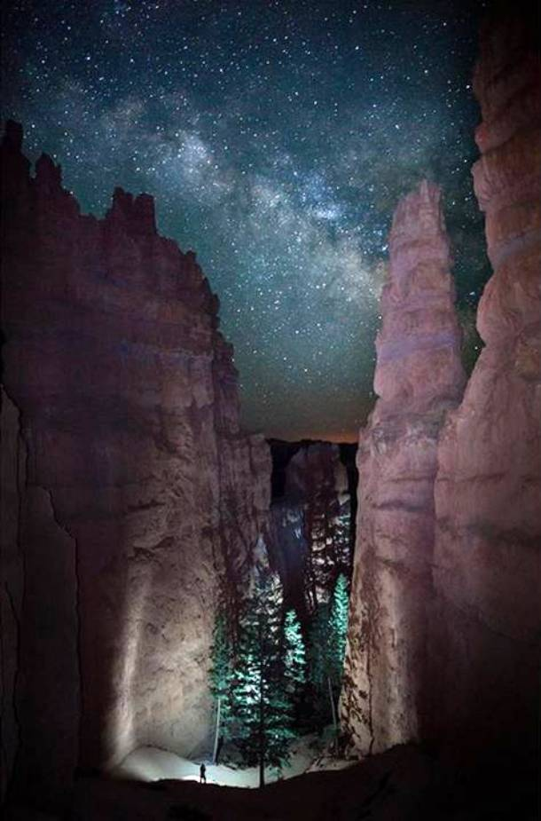A Lone Hiker Viewed the Path Before Him as the Milky Way Rose in the Night Sky
