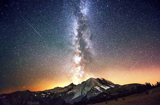 The Milky Way Galaxy Exploding from Mount Rainier
