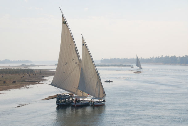 Nile River with sailboat