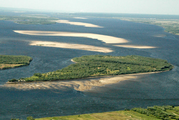 Lena river from the air with small island visible