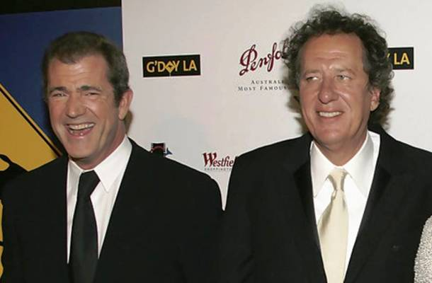 Mel Gibson and Geoffrey Rush