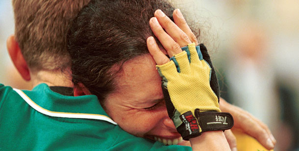 http://commons.wikimedia.org/wiki/File:211000_-_Cycling_track_Lyn_Lepore_emotional_-_3b_-_2000_Sydney_race_photo.jpg