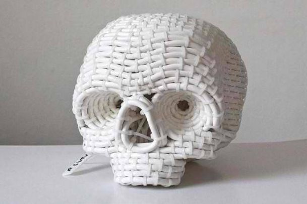 Skull Sculpture using Electrical Cables