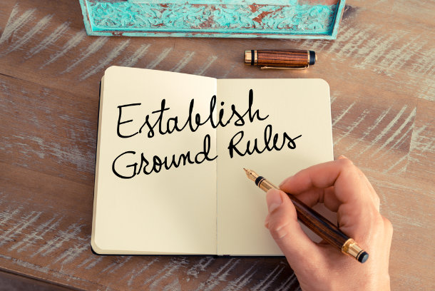 """notebook with """"establish ground rules"""" written on page"""